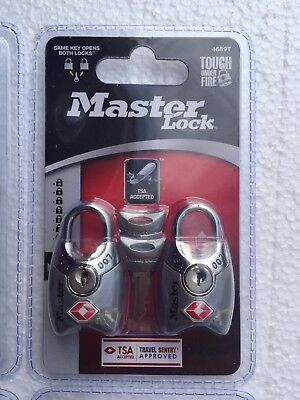 Master Lock 4689T-2 Pack-TSA Accepted Padlocks-Assorted Colors- New