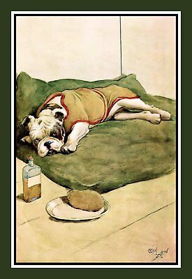 Bulldog Sick in Bed Refrigerator Magnet - Free US Shipping