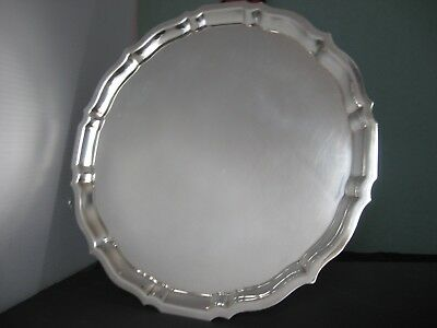 """Large 14"""" Gorham Sterling Silver Waiter or Cocktail Tray Chippendale 1955; 1221g"""