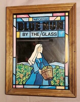 Imported Blue Nun Wine Beer By The Glass Vintage Mirrored Advertising Sign