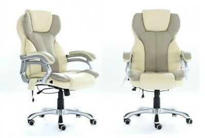 Swivel Computer Desk Chair Executive Office Seat Gaming 6 Point Massage PU Cream
