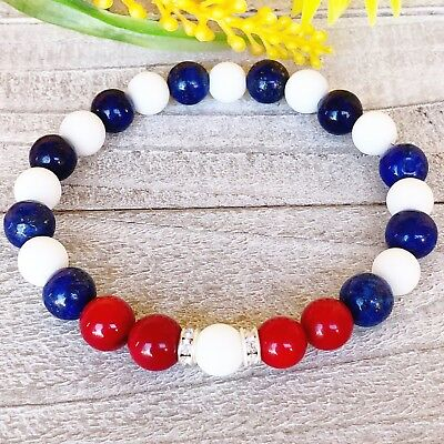 Beaded Bracelet, Lapis Lazuli & White Alabaster+ Red Jade, Cuban Flag Bracelet,