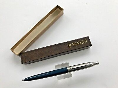 Vintage Dark Blue Parker Jotter Ball Pen USA Recessed button Brass Threads Boxed
