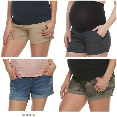 NWT Women's Maternity Shorts - A Glow - 4 Colors - All Sizes - Full Belly Panel