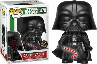 Star Wars Darth Vader Glow Chase Limited Christmas Edition Candy Cane Funko...