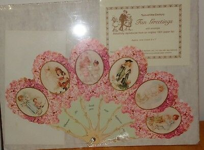 Turn of the Century Fan Greeting Card Victorian Children Flowers Envelope New