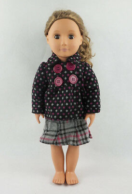 Fit For 18'' American Girl Doll Clothes With Mini Skirt Wave Point Button Tops
