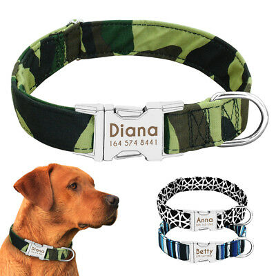 Nylon Personalized Dog Collars Custom ID Collar Tag with Heavy Duty Buckle S M L
