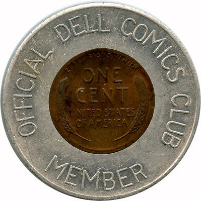 1953 Official Dell Comics Club Member Encased Cent Wheat Back Penny Token