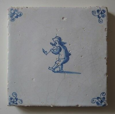 "17th/18th Century DUTCH DELFT TILE ""MAN SMOKING A PIPE"""