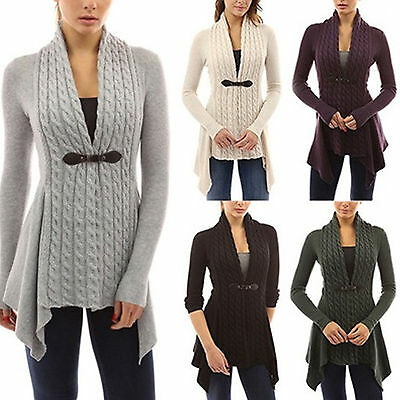 Womens Ladies Chunky Cable Knit Cardigan Sweater Long Sleeves Winter Plus Sizes