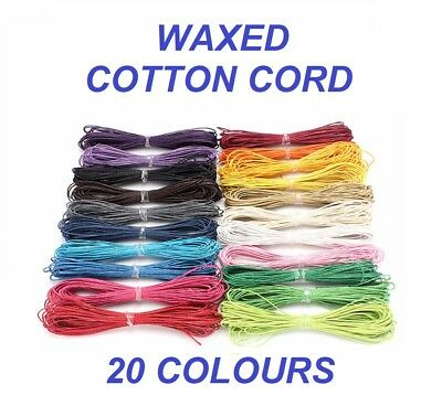 WAXED COTTON CORD - 10m Long x 1mm Thickness - Jewellery Making Thread Shamballa