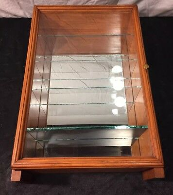 Antique Vintage Wood Wall Hanging Display Case With Mirror