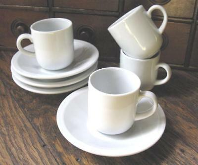 Lot of 4 EG&H White Espresso Cups and Saucers Sets Modern Contemporary China