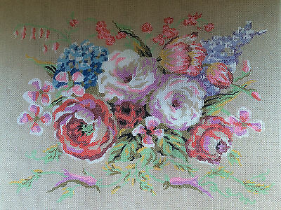 2 VTG Needlepoint Canvas Embroidery Tapestry Bevy of Blossoms Vintage Meighan