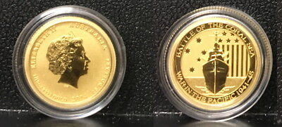 2014 Ww-Two 1942 Battle Of Coral Sea 1/10  Oz .9999 Cameo Gem Proof Bu Gold Coin