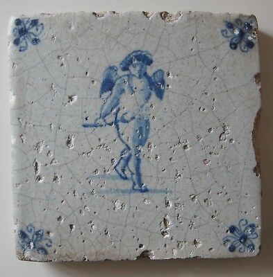 "17th Century DUTCH DELFT TILE ""CUPID / ANGEL (HEAD-ON)"""