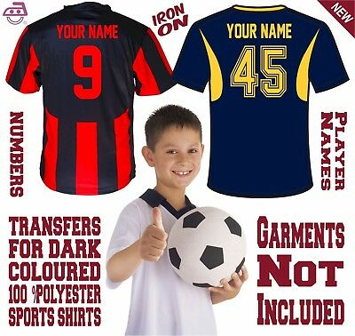 Iron On Numbers Letters Kids Size Football Soccer for 100% Polyester Dark Jersey