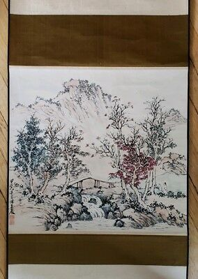 Vintage Chinese Watercolor Landscape Scroll Painting With Calligraphy