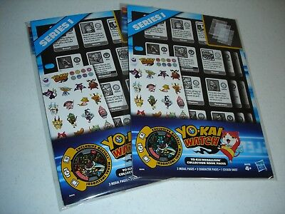 2 Packs, Yo-Kai Watch, Medallium, Series 1,collector Book Pages, By Hasbro,  New