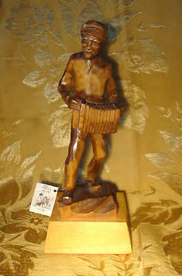 """Man Playing Accordion Wood Carving Signed Jocelyn Caron 10 1/4"""" Quebec Canada"""