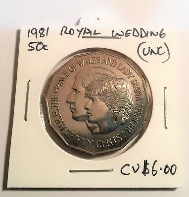 50 Cent,1981 Royal Wedding, Coin. (UNC) From Mint Roll, Lady Dianna, CV $6.00