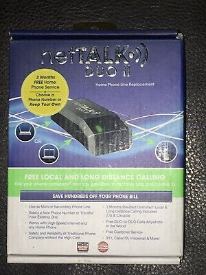 netTALK Duo II VoIP Home Phone Line Replacement - Black NEW Includes all cables!