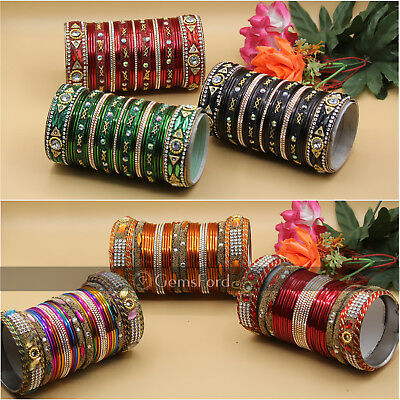 New Indian Pakistani Bangles Churiyan Jewellery  Designer Bangle Set Gold Plated