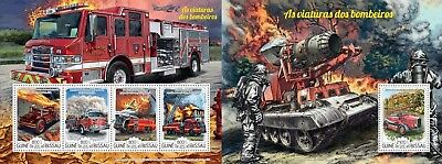 Z08 IMPERFORATED GB15205ab GUINEA-BISSAU 2015 Fire engines MNH ** Postfrisch Set