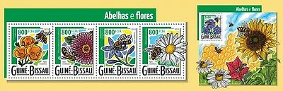 Z08 IMPERFORATED GB15403ab GUINEA-BISSAU 2015 Bees and flowers MNH ** Postfrisch