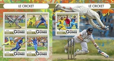 Z08 IMPERFORATED GU16517ab GUINEA Rep. (Guinee) 2016 Cricket MNH Set
