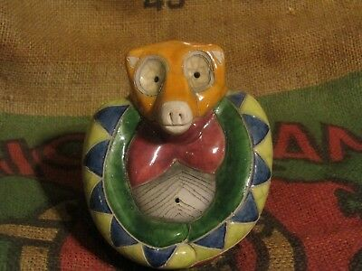 "Colorful Raku Pottery Baboon from South Africa Animal Figurine 5""H  4""W"