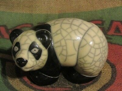 "Colorful Raku Pottery Panda Bear from South Africa Animal Figurine 5"" L Signed"