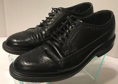 Hanover Black Wingtip Oxford Dress Shoes Brogue Grain 3365 Men's Size 9.5 E/C