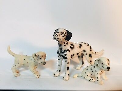 Schleich - Dogs -Dalmatian Male And Puppy Figures  - Lot - Retired - 2006