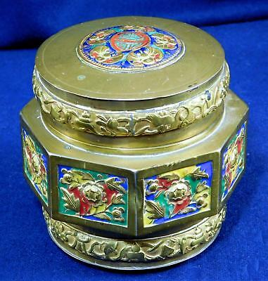 Antique Chinese Brass Enamel Trinket Box 1930s  Asian Art Round Lidded
