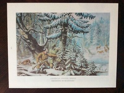 1968 currier and Ives color art book print American Winter Sports