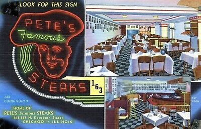 vintage postcard Pete's Steak House. Chicago, IL 1945