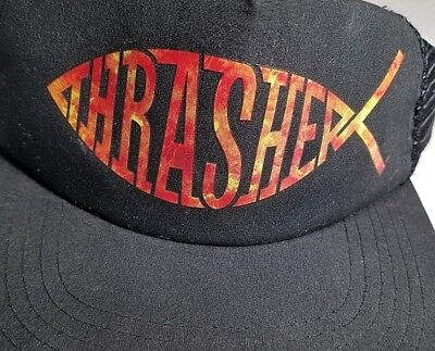 9dc991597db THRASHER - Black - Mesh Adjustable Snapback Hat with Red Flame Fish