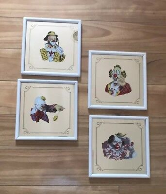 """Clown Painted Lithograp On Mirror 8X8"""" Holding Vintage Glasses By Arthur Sarnoff"""