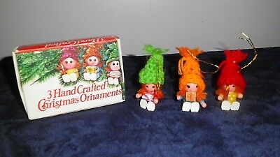 Lot of 3 Vintage Hand Crafted Hand Painted Wooden Christmas Elves Ornaments IOB