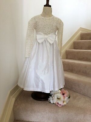 Vintage Flower girl communion party dress child bridal - white taffeta sz 8