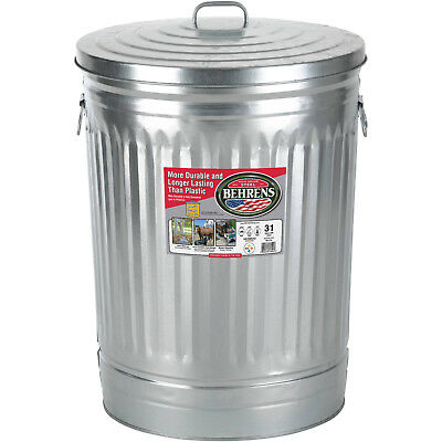 31 Gallon Metal Trash Can Galvanized Steel Lid Garbage Storage Outdoor Outside