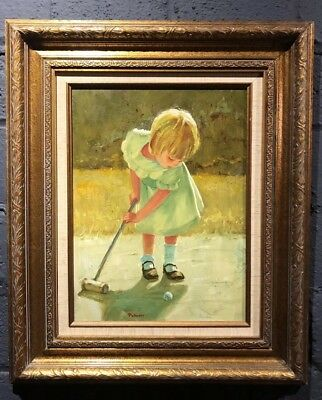 Original Frank Palmieri Oil On Masonite Painting Of Girl Playing Croquet Signed