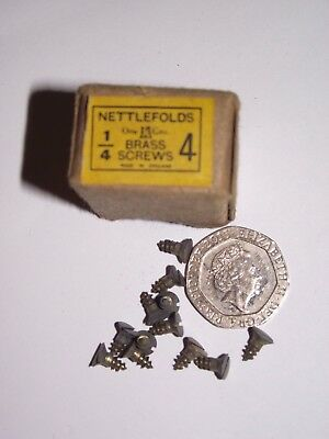 """4 x ¼"""" - TRADITIONAL SLOTTED CSK BRASS WOOD SCREWS Qty 20 -NETTLEFOLDS"""