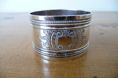 Antique Victorian Hallmarked Sterling Silver Napkin Ring : London 1889-90