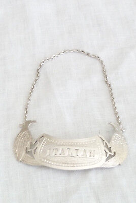 "Vintage Solid Silver Decanter Label : ""Italian"""