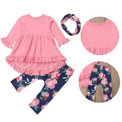 Toddler Kids Baby Girls Winter Clothes Floral Ruffle Tops Dress Pants Outfits