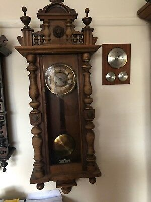 Korean Wooden 31 Day Pendulum Wind Up Wall Clock With Key