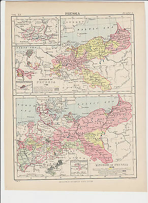 Old Map/Print of Prussia (Circa: 1875-1890) FREE P&P